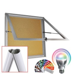 MAXI LED-RAL Schaukästen mit Standpfosten - Kork